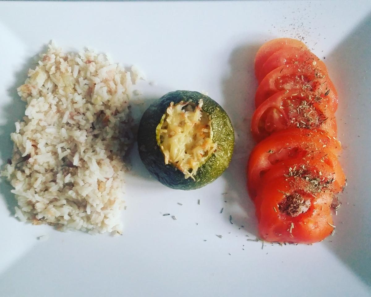 Courgette ronde farcie au riz et jambon la cuisine d 39 anne mich 39 - Recette courgette farcie riz ...